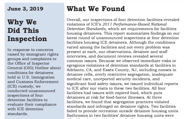 Report Details 'Egregious' Conditions at Privately-Run Migrant Detention Facilities